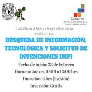 Búsquedas de Información, Técnológica y Solicitud de Invenciones IMPI @ Centro Nacional de Apoyos a la Pequeña y Mediana Empresa | Coyoacán | Ciudad de México | México