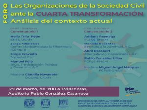 Las Organizaciones de la Sociedad Civil ante la Cuarta  Transformación. Análisis del contexto actual @ Auditorio Pablo González Casanova | Ciudad de México | Ciudad de México | México
