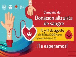 Campaña de Donación Altruista de Sangre 2019 @ Explanada del edificio A, FQ   Ciudad de México   Ciudad de México   México