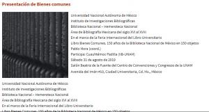 Presentación de Bienes comunes @ Centro de Convenciones y Congresos de la UNAM | Ciudad de México | Ciudad de México | México